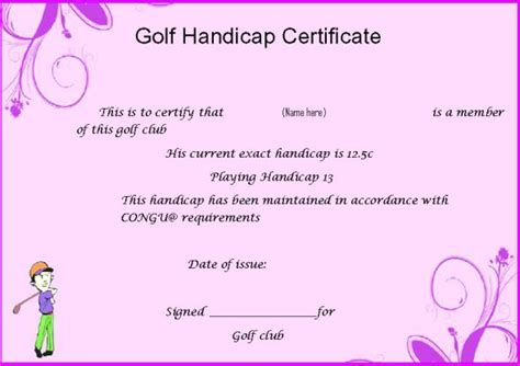 golf certificate template idealvistalistco - Fake Golf Handicap Certificate Template