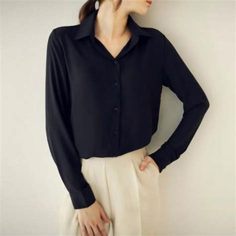 shirts vs blouses womens button lapel turn collar v neck casual