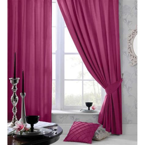 catherine lansfield faux silk eyelet curtains in pink
