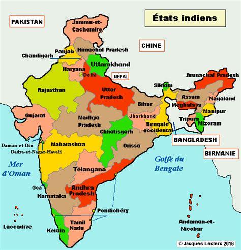 Carte Politique Du Monde Indien by Inde Politique Carte