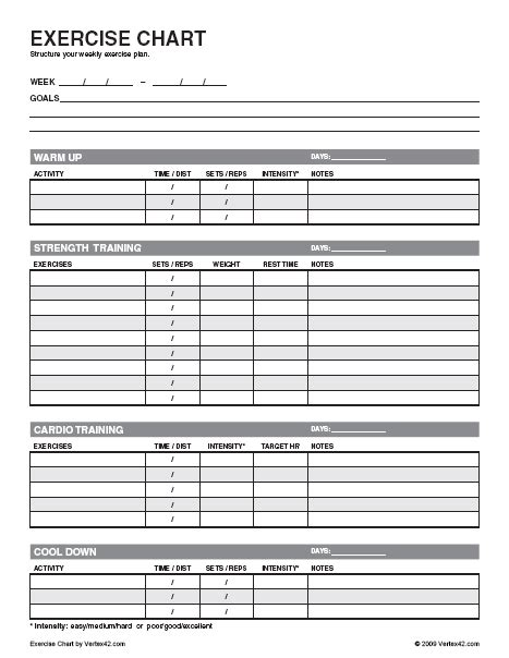 Weekly Fitness Plan Template by Free Exercise Chart Printable Exercise Chart Template