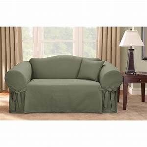 Minimalist living room with dark green sure fit logan sofa for Sure fit sectional sofa covers