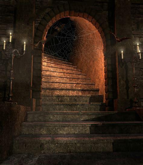 fantasy dungeon staircase candelabras bats background
