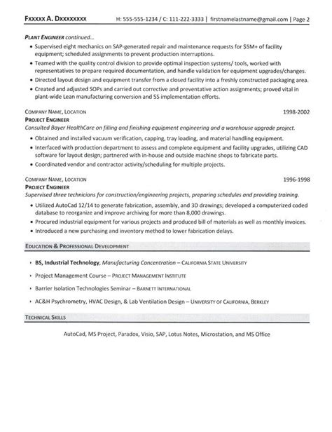 Project Manager Resume Sles by Project Manager Resume
