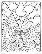 Coloring Pages Mountain Scenery Mountains National Park Getdrawings Printable Getcolorings Colorings sketch template