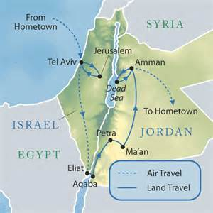 Jordan and Israel Map Dead Sea