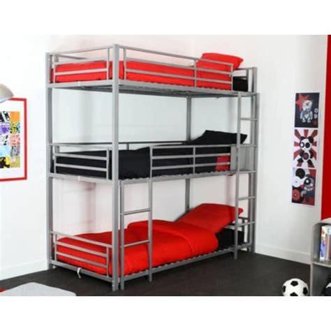 lit mezzanine metal avec bureau lit superposés 3 places trio gris achat vente lits
