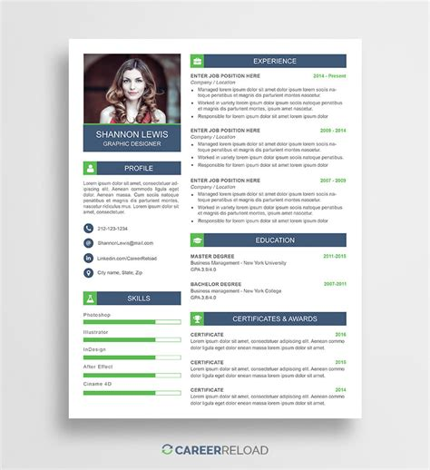 Free Photoshop Resume Templates by Free Photoshop Resume Templates Free Career