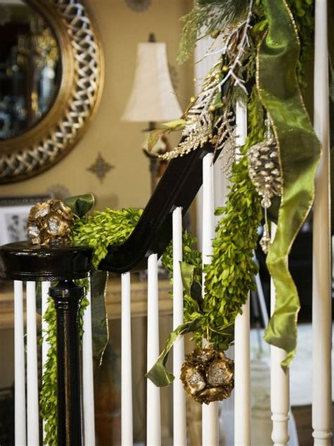 garland staircase decorating decorate the stairs for christmas 30 beautiful ideas