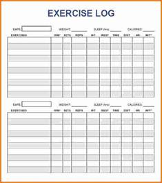 Printable Blank Workout Log Sheet Template