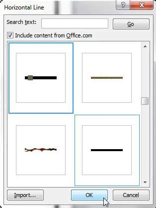 Microsoft Word Spacers how to insert an artistic or decorative horizontal line in