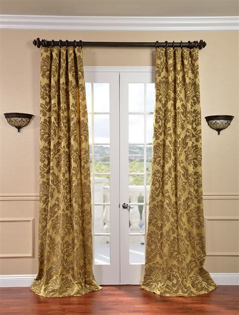 astoria gold bronze faux silk jacquard curtains drapes