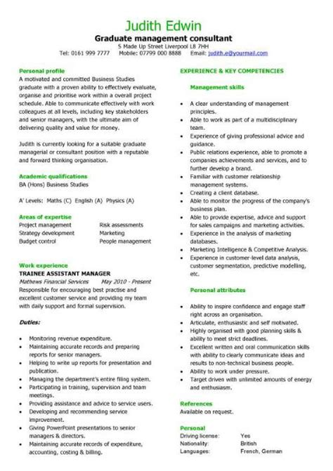 Management Consulting Resume Exles by Graduate Management Consultant Cv Sle Team Leader Cv