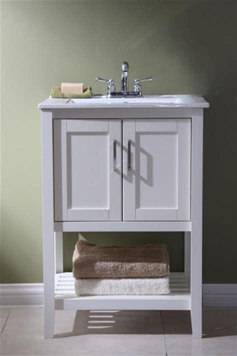narrow bathroom vanity open shelf  white