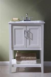 24 Inch Narrow Single Sink Bathroom Vanity In White