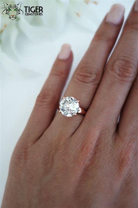 4 carat cut low profile solitaire engagement ring