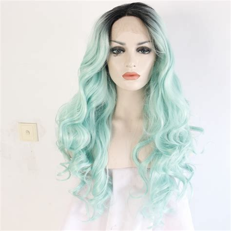 Long Wavy Dark Roots Mint Green Ombre Synthetic Lace Front