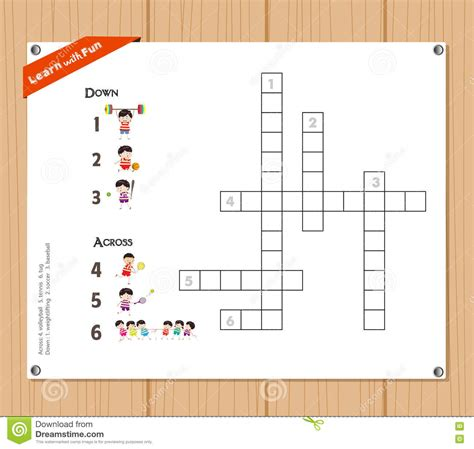 foto de Crossword Education Game For Children About Sports Stock
