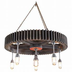 Chandelier vintage industrial pattern wood and glass