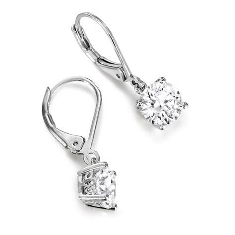 solitaire drop earrings 2 ct t w solitaire drop platinum clad earrings