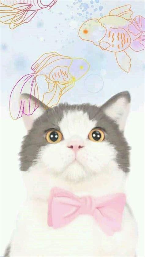 grey white pink bowtie cat iphone phone wallpaper