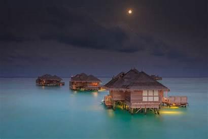 Maldives Tropical Beach Landscape Resort Moon Nature