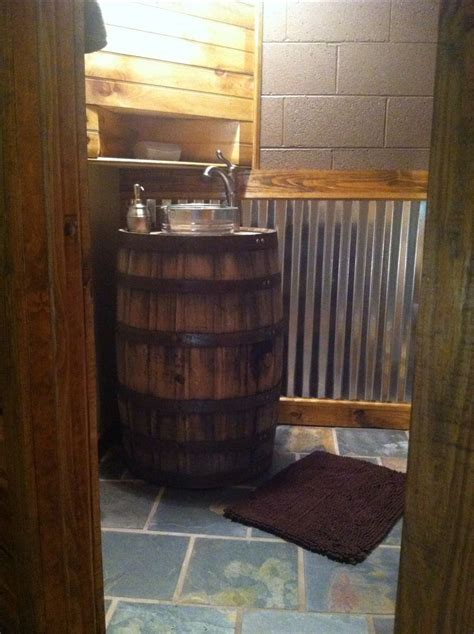 whiskey barrel sink rustic bathroom outhouse bathroom