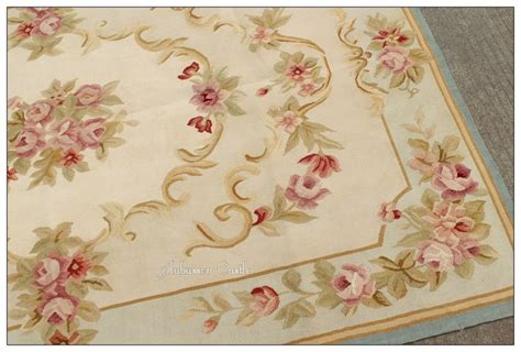 light blue cream french aubusson area rug shabby pink