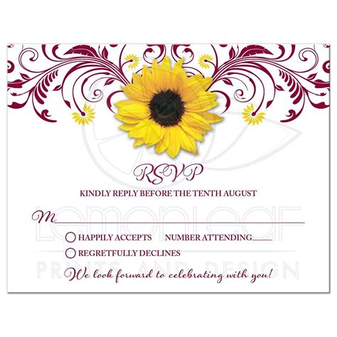 Burgundy Sunflower Floral Wedding Rsvp Card Yellow And
