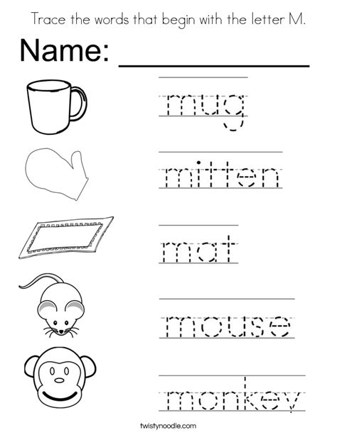 trace the words that begin with the letter m coloring page 251 | trace the words that begin with the letter m coloring page