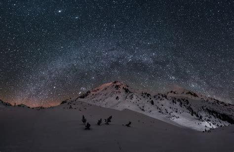 Mountain Snow Night Sky Star Milky Way Hd Wallpaper