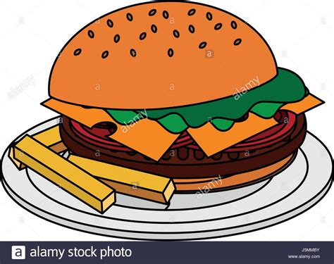 Color Image Cartoon Hamburger In Dish With French Fries
