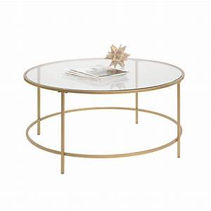 sauder international lux coffee table round satin gold by With round glass coffee table with gold base