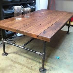 Custom Made Barn Wood Cast Iron Pipe Coffee Table by J&S