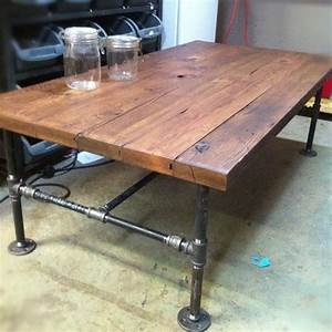 Custom made barn wood cast iron pipe coffee table by js for Wood coffee table with iron legs