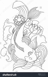 Hand Drawn Outline Koi Fish Gold Stock Vector 381421987 ...