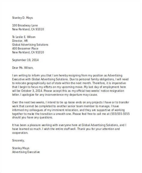 formal  weeks notice letter