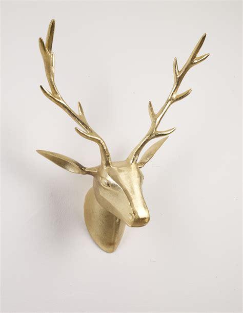 deko geweih hirschkopf gold groesse  wandfigur