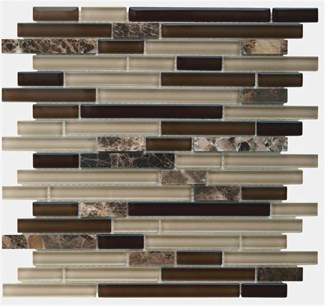 Glass Mosaic Tile Kitchen Backsplash by Glass Tile Backsplash Linear Mocha Mineral Tiles