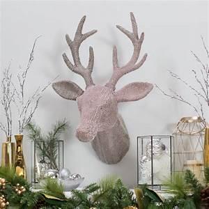 Jeweled, Reindeer, Antler, Head, Wall, Decor