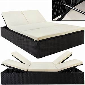 garden double bed rattan black beige double couch sun With bedlounger