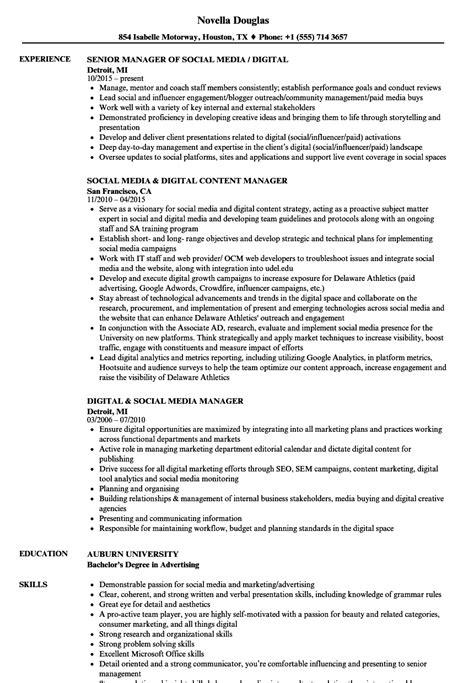 Social Media Manager Resume by Digital Social Media Manager Resume Sles Velvet