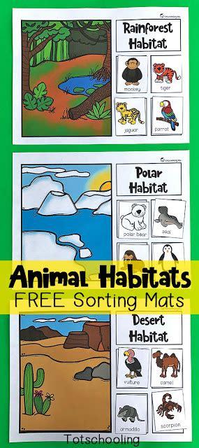 cookie jar number matching free printable totschooling 310   Animal Habitats Sorting Mats