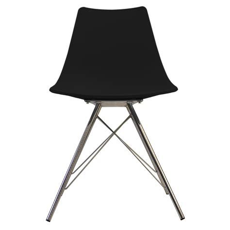 eames inspired black n dsr style chair with chrome legs