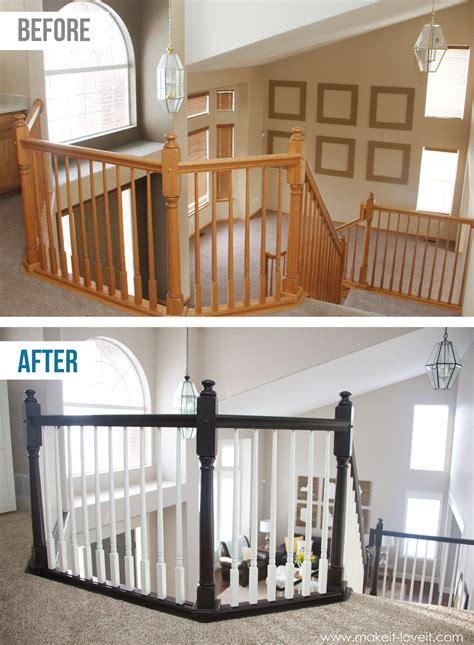 paint stain wood stair railings oak banisters spindles  sanding