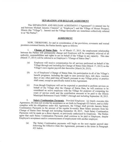 nc separation agreement template  template