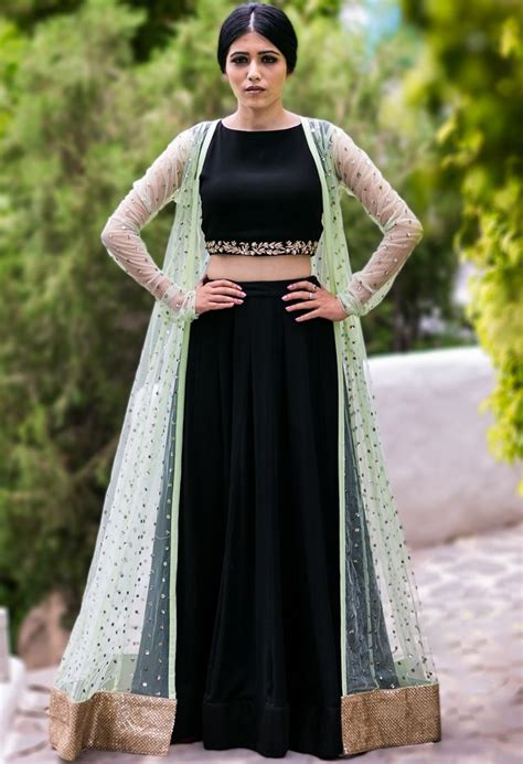 Mint embellished jacket with black crop top & lehenga by ...