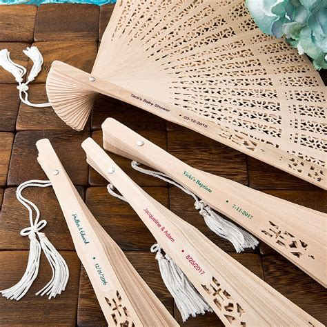 custom printed fans for weddings personalized carved sandalwood folding hand fan favors