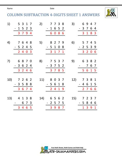 4 digit subtraction worksheets