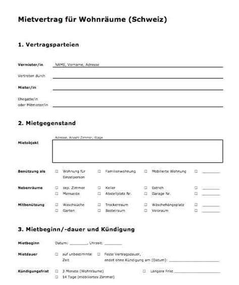 mietvertrag muster kostenlos vorlage mietvertrag f 252 r wohnr 228 ume schweiz muster vorlage ch